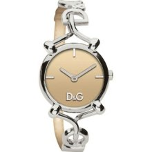 Dolce and Gabbana DW0684 Stainless Steel Flock Bangle Style Quartz Brown Dial Leather Strap