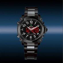 Elegant Mens Wmens Day&date Red Digital Case Black Stainless Steel Sport Watch