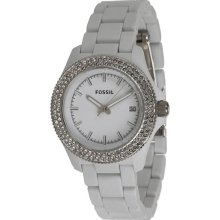 Fossil Ladies Plastic Resin Case and Bracelet White Tone Dial Crystals AM4466