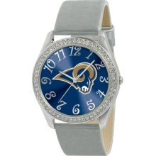 Game Time Watch, Womens St. Louis Rams Silver Leather Strap 40mm Nfl-g