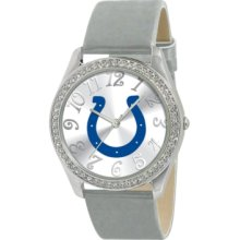 Game Time Watch, Womens Indianapolis Colts Silver Leather Strap 40mm N