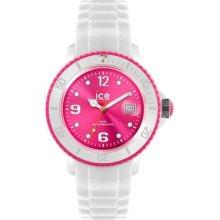 Ice-Watch Unisex White Bezel & Strap, Pink Dial Sili SI.WP.U.S.11 Watch