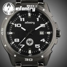 Infantry Mens Army Quartz Date Sports Wrist Watch Black Stainless Steel Gift