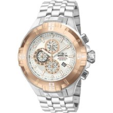 Invicta Mens Reef Pro Diver Xxl Chronograph Silver Dial Rose Gold Bezel Watch