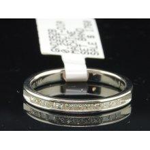 Ladies 14k White Gold Princess Cut Diamond Engagement Ring Wedding Band .25 Ct.