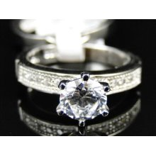 Ladies .925 Sterling Silver 2 Pc Simulated Lab Diamond Solitaire Ring Band 8mm