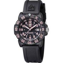Luminox Ladies Navy Seals Colormark Black Dial Round Case Pink Accent Watch 7065