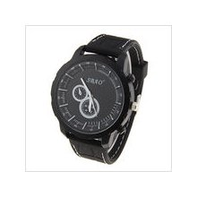 mens new SBAO black stainless steel quartz watch and black face rubber band