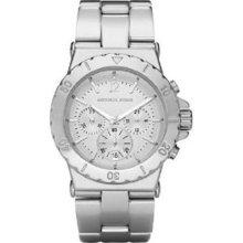 Michael Kors Bel Aire Silver Aluminum Chronograph Womens Watch Mk5462 (u)