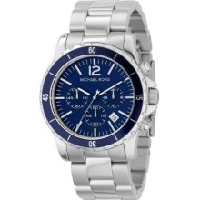Michael Kors Fashion Men's Quartz Watch With Blue Dial Chronograph Display And Silver Stainless Steel Strap Mk8123