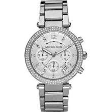 Michael Kors Silver Dial Stainless Steel Chronograph Ladies Watch ...