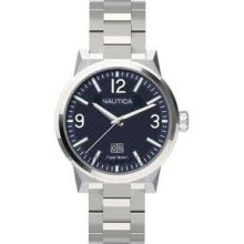 Nautica Mens Nct 600 Watch Blue Dial Stainless Steel Date A18596g With Box