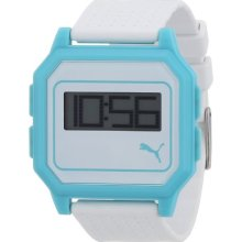 Puma Flat Screen Unisex Digital Watch With Lcd Dial Digital Display And White Plastic Or Pu Strap Pu910951008