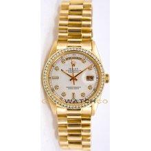 Rolex Mens 18K Yellow Gold President Day Date Model 18238 Custom Added White Diamond Dial & Diamond Bezel