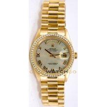 Rolex Mens 18K Yellow Gold President Day Date Model 18238 Custom Added MOP Roman Dial & Diamond Bezel