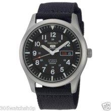 Seiko 5 Men's Snzg15 Automatic Military Nylon Canvas Black Strap Big Watch