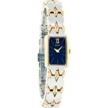 Seiko Quartz Ladies Blue Dial Fancy Two Tone Bracelet Dress Watch SYL808 New