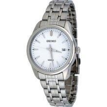 Seiko Sgef99 Men's Watch Stainless Steel Quartz White Dial Date Display