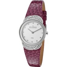 Skagen Watches Women's White Swarovski Crystal White Dial Purple Genui