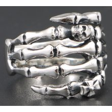 Skeleton Hand With Skull & Cross 925 Sterling Solid Silver Mens Ring Size 13.25