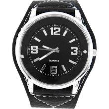 Sport Quartz Men Lady Faux Leather Belt Casual Wrist Watch Black