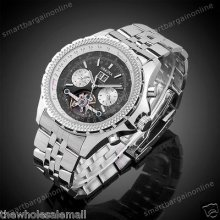 Stainless Steel Tourbillion Automatic Mechanical Watch Classic Dial Mens Wrist