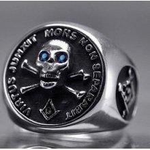 Sterling Silver free mason Masonic Ring Skull Sapphire