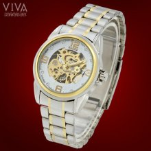 Studded White Dial Mechanical Skeleton Automatic Steel Men's Wrist Band Watch