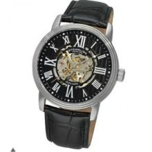 Stuhrling Original 1077.33151 Mens Classic Delphi Venezia Automatic Skeleton with Stainless Steel Case on Black Leather Strap and Black Dial
