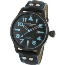 Stuhrling Original 141.33551 Mens Eagle Watch on a Black PVD Coated Stainless Steel Case with Black Dial with Swiss Blue Tipped White Hour and Minute Hands