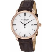 Stuhrling Original 307L.334K2 Mens Swiss Made Kingston Quartz Date Ultra Slim Rose Gold on Brown Leather Strap with White Dial Watch