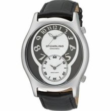 Stuhrling Original 63XL.331528 Mens Classic Kensington Grand Slim Swiss Quartz with Stainless Steel Case Grey Dial and Black Leather Strap Watch
