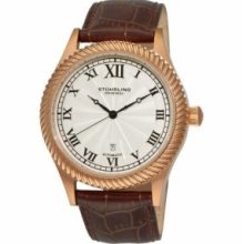 Stuhrling Original 91C.3345K2 Alpine Girl Slim Swiss Quartz with Rose Tone Plated Stainless Steel Case Silver Dial and Brown Leather Strap Watch