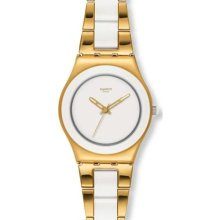 Swatch Women's Irony YLG122G Two-Tone Stainless-Steel Swiss Quartz Watch with White Dial