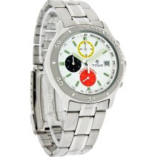 Titan Mens White Dial Multi-Color Chronograph Stainless Steel Bracelet Watch New