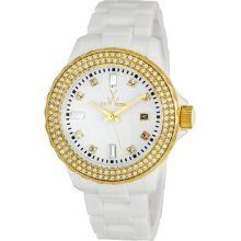 Toy Toywatch Ladies' White Plasteramic Crystal Date Watch N32208-whg