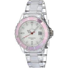 Toy Unisex White Dial Round Case Pink Accent Quartz Analog Watch 1106pkp