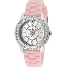 Women's Round Watch - Case/Dial Color: Silver and Pink, Hands/Mar ...