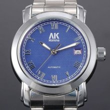 Ak-homme Silver Stainless Steel Band Blue Dial Mens Mechanical Wrist Watch