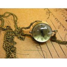 Antique pocket watch Necklace Pendant oval transparent yellow gold Rome digital hb120