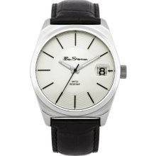 Ben Sherman Men's Quartz Watch With Silver Dial Analogue Display And Black Leather Strap R908
