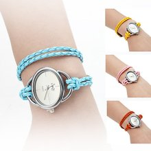 Braided Women's Elegant Rope Style PU Leather Band Analog Quartz Bracelet Watch (Assorted Colors)