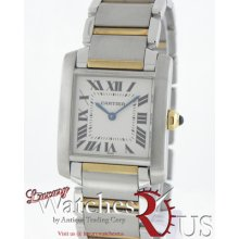 Cartier Tank Francaise W51007q4 White Dial Steel 18k Yellow Gold Quartz