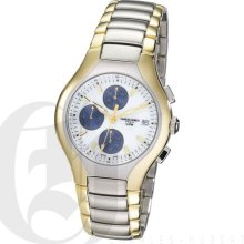 Charles Hubert Premium Mens White Dial Stainless Steel Chronograph Watch with Date 3539-T