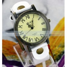 Classic Retro Ladys Women Mens Leather Band Roma Dial Wrist Watch 7 Colors Gift