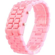Glacial Lava Style Red Led Metal/acrylic Men Lady Cuff Wrist Watch Gift