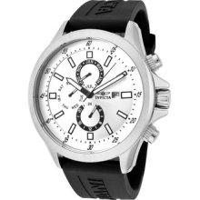 Invicta Watch 1836 Men's Specialty Silver Dial Black Polyurethane