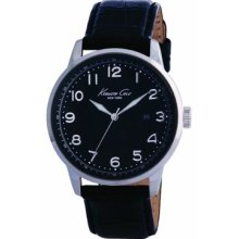 Kenneth Cole Mens Black Dial Stainless Steel Case Date Leather Strap Watch
