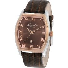 Kenneth Cole Mens New York Analog Stainless Watch - Brown Leather Strap - Brown Dial - KC1891
