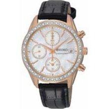 Ladies' Seiko Swarovski Crystal Rose Tone Stainless Steel Watch with Mother-of-Pearl Dial (Model: SNDY14) seiko